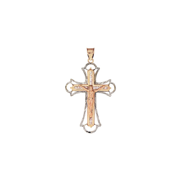 14K Italian Gold Cross Pendant with Cubic Zirconia