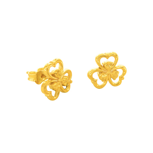 18K Chinese Gold Flower Stud Earrings
