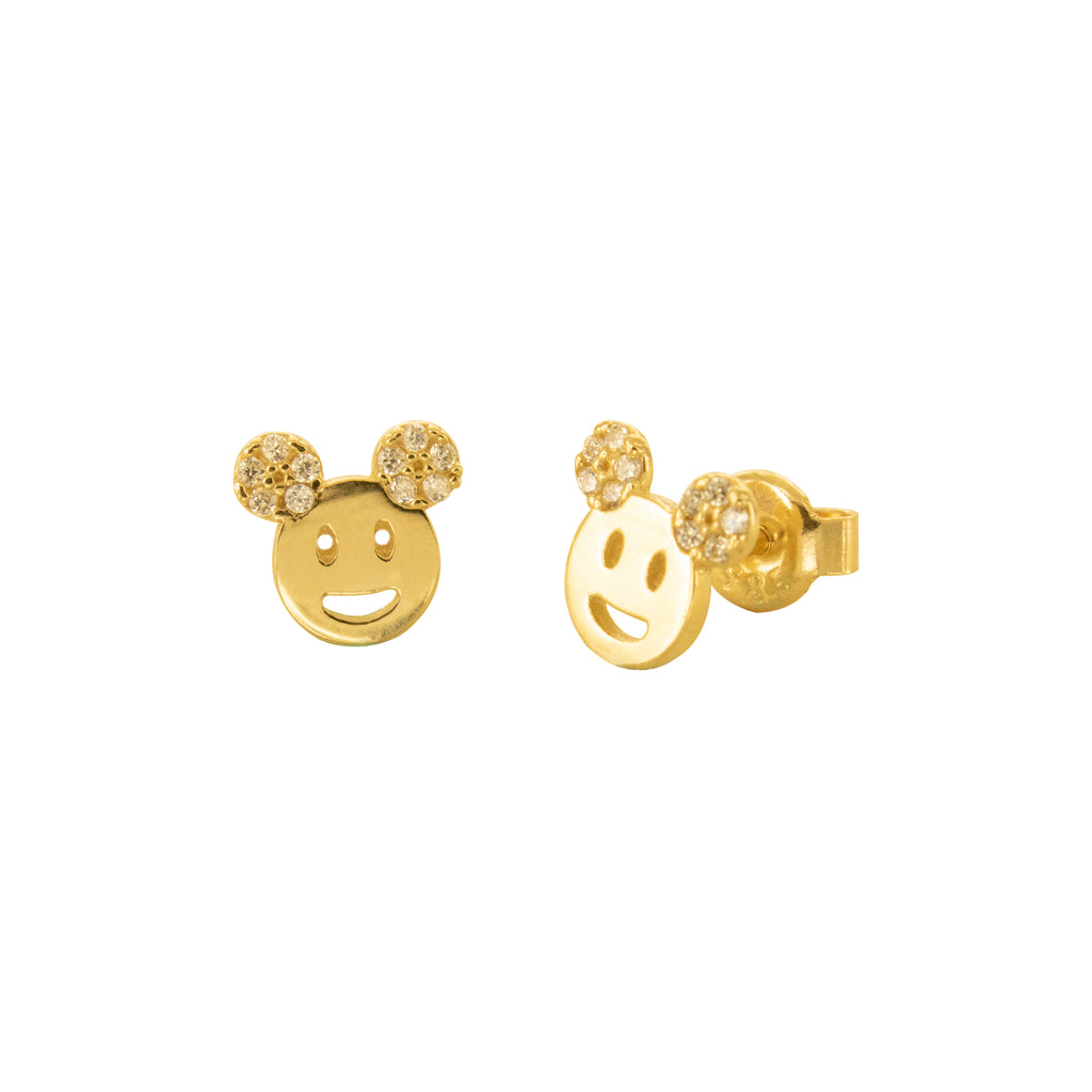 14K Italian Gold Smiley Cubic Zirconian Stud Earrings