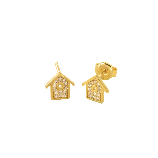 14K Italian Gold House Cubic Zirconian Stud Earrings