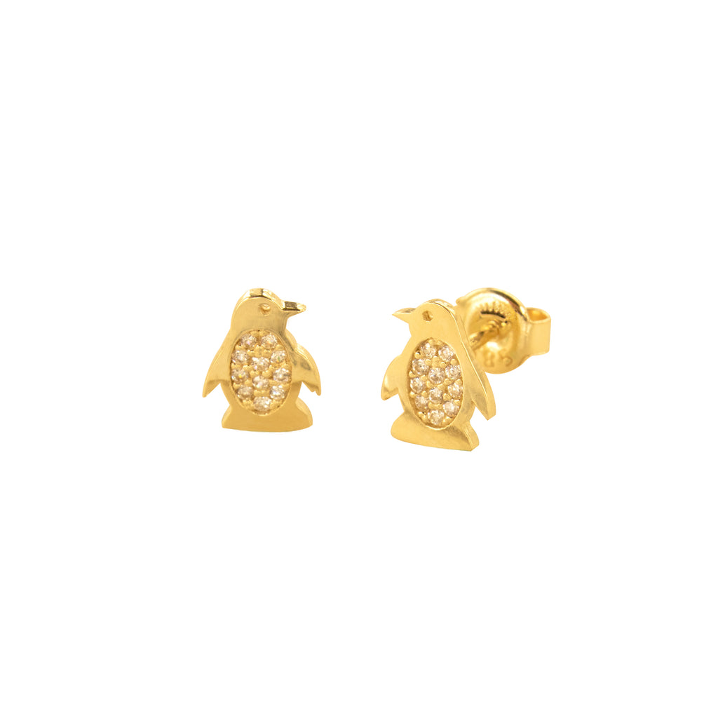 14K Italian Gold Penguin Cubic Zirconia Stud Earrings