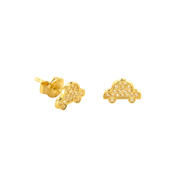 14K Italian Gold Car Cubic Zirconia Stud Earrings