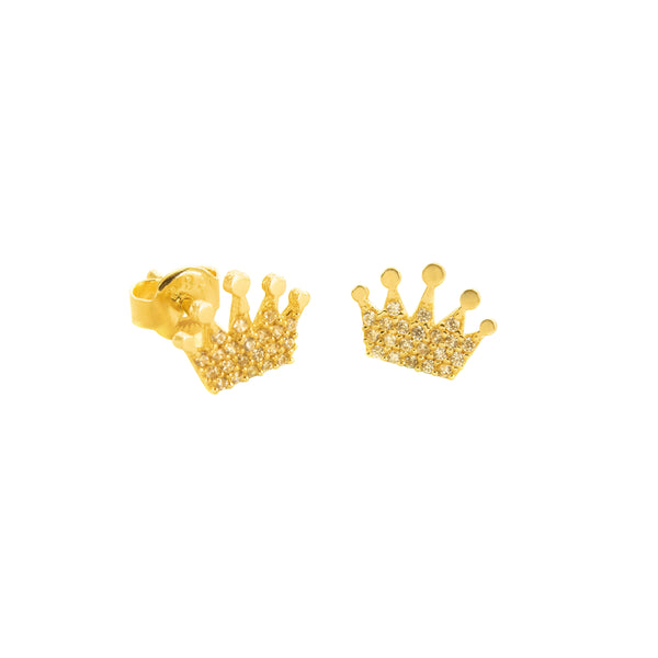14K Italian Gold Crown Cubic Zirconian Stud Earrings