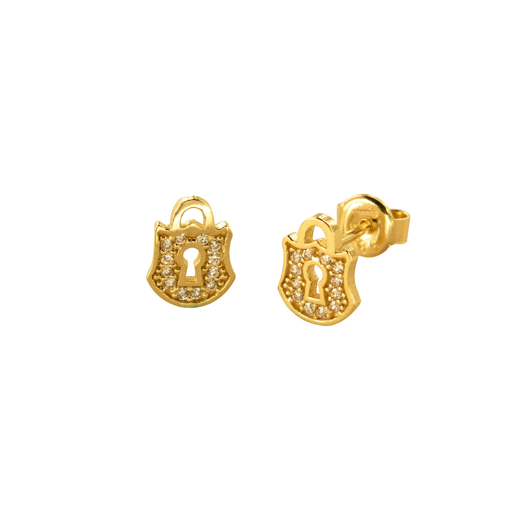 14K Italian Gold Lock Cubic Zirconian Stud Earrings