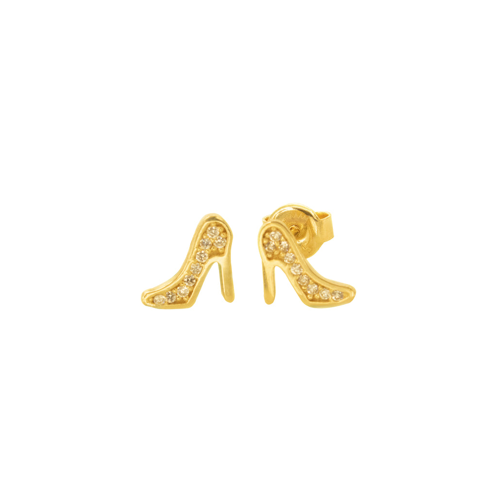 14K Italian Gold Shoes Cubic Zirconian Stud Earrings