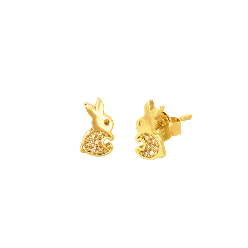 14K Italian Gold Rabbit Cubic Zirconian Studs Earrings