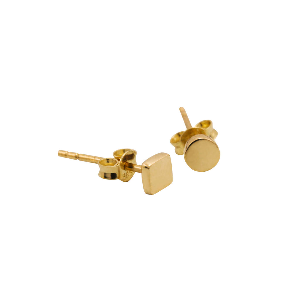 Keepsake Collection 14K Italian Gold Round and Square Stud Earrings