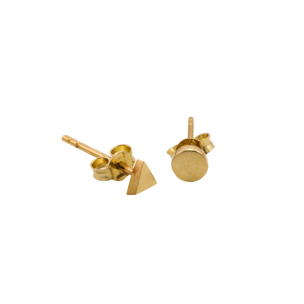14K Italian Gold Triangle and Round Earrings