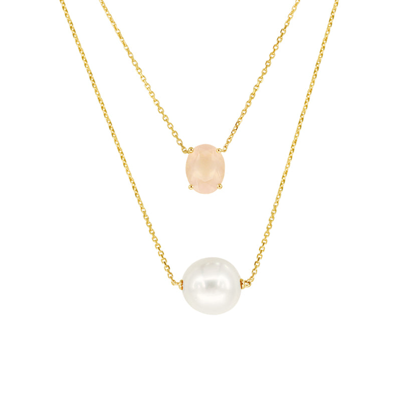 White South Sea Pearl Necklace with Rose Quartz in 14K Yellow Gold
