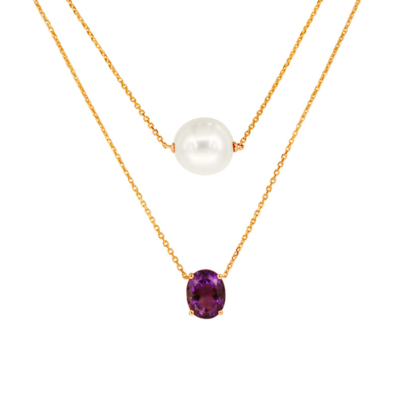 White South Sea Pearl Necklace with Amethyst in 14K Yellow Gold