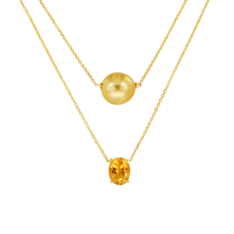 Golden South Sea Pearl Necklace with Citrine in 14K Yellow Gold