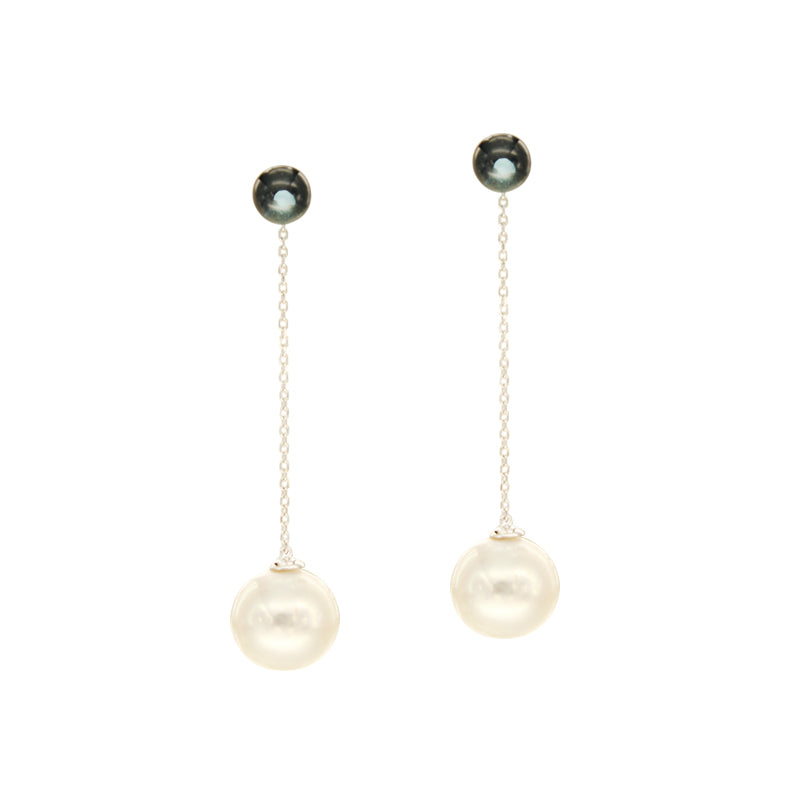 White South Sea Pearl Dangling Earrings with Blue Topaz in 14K White Gold