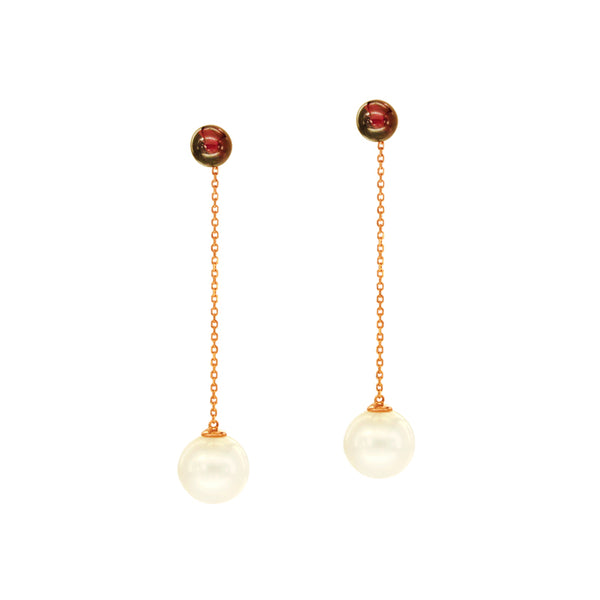 White South Sea Pearl Dangling Earrings with Rhodolite in 14K Rose Gold