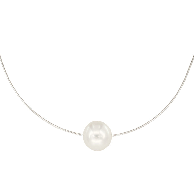 White South Sea Pearl Cable Necklace in 14K White Gold Setting