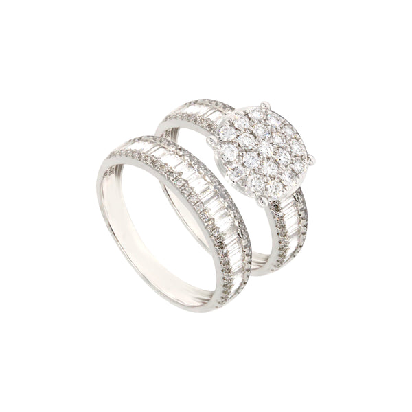 2-in-1 Round Illusion Solitaire and Baguette Diamond Eternity Ring in 14K White Gold
