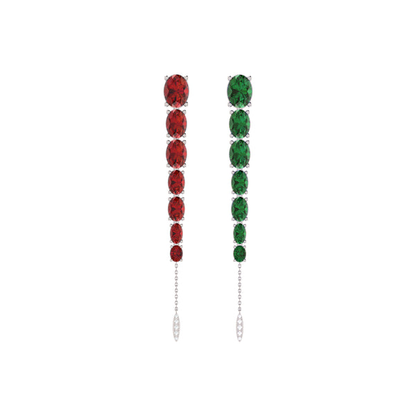 Mismatched Ruby and Emerald Dangling Earrings in 14K White Gold