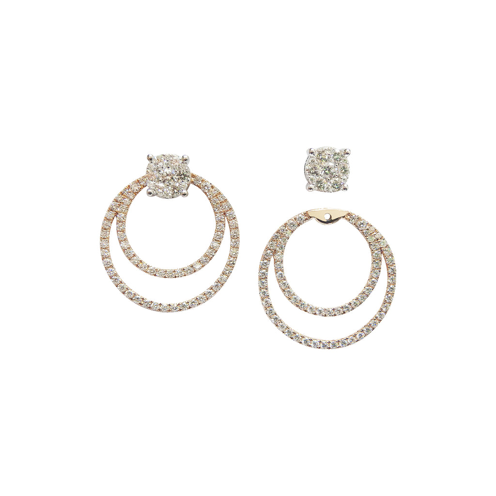 Two-Way Wear Diamond Earrings in 18K White and Yellow Gold
