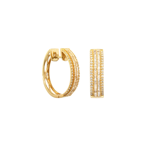 Bagguettes Diamond Oval Hoops Earrings in 18K Yellow Gold