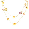 Golden South Sea Pearl 11mm Necklace with Multi- Colored Stones in 14K Yellow Gold
