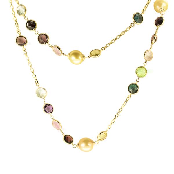 11mm Golden South Sea Pearl Necklace with Multi- Colored Stones in 14K Yellow Gold