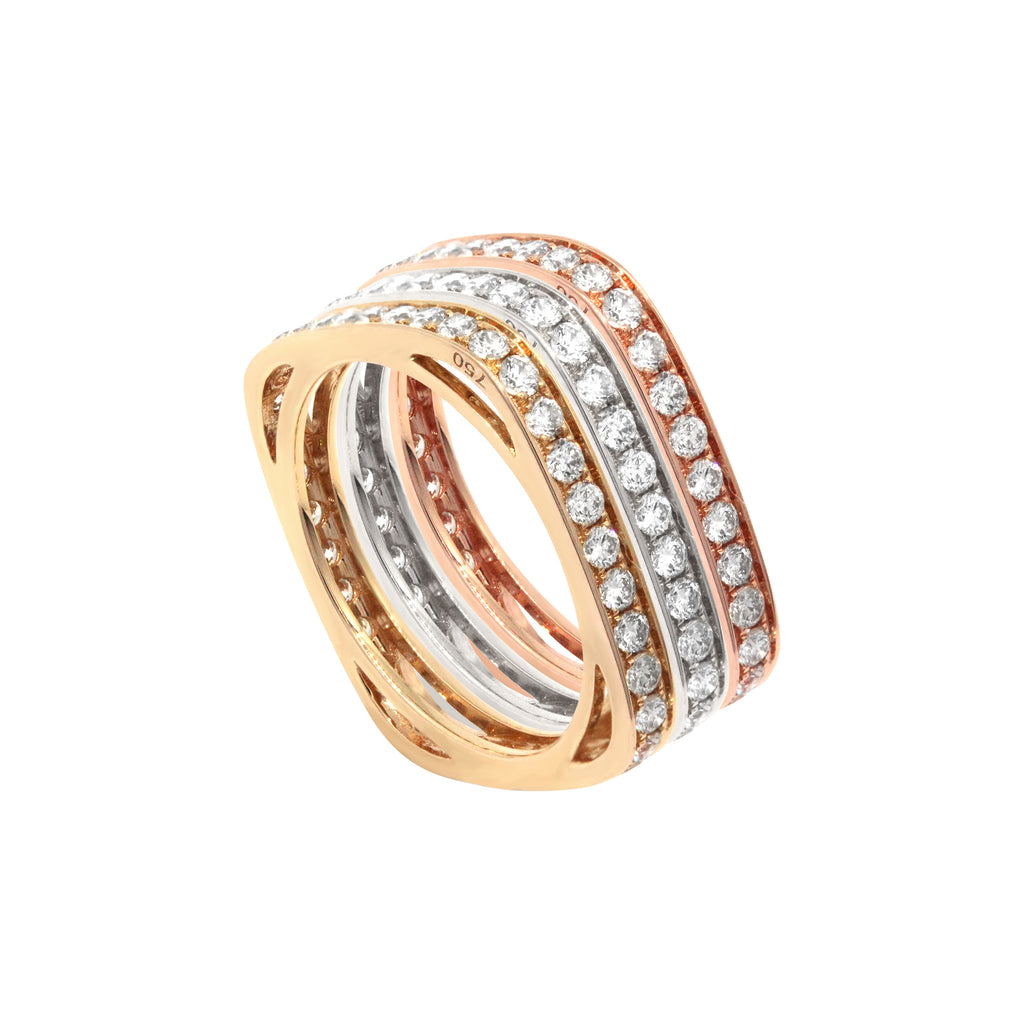 Tricolor Square Diamond Eternity Ring in 18K Gold