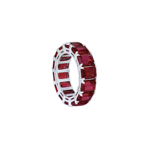 Ruby Eternity Ring in 18K White Gold