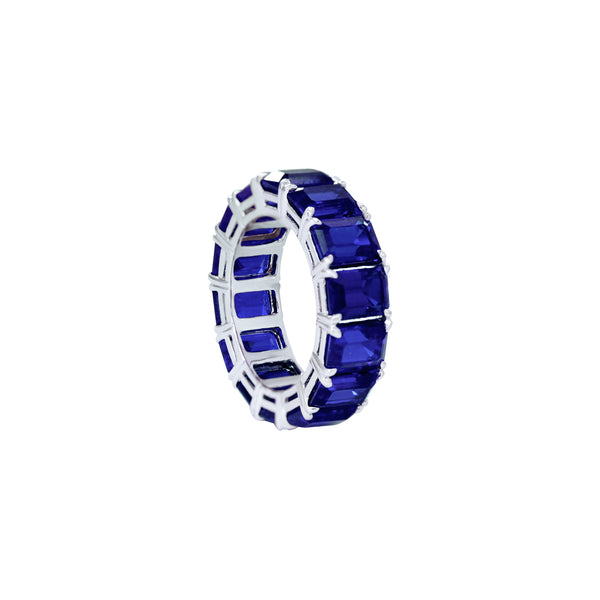 Emerald-Cut Sapphire Full Eternity Ring in 18K White Gold
