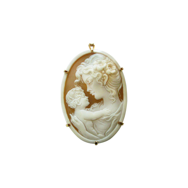 Handcrafted Mother and Child Cameo in 14K Yellow Gold