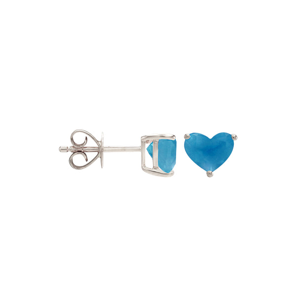 Blue Topaz Heart Stud Earrings in 14K White Gold