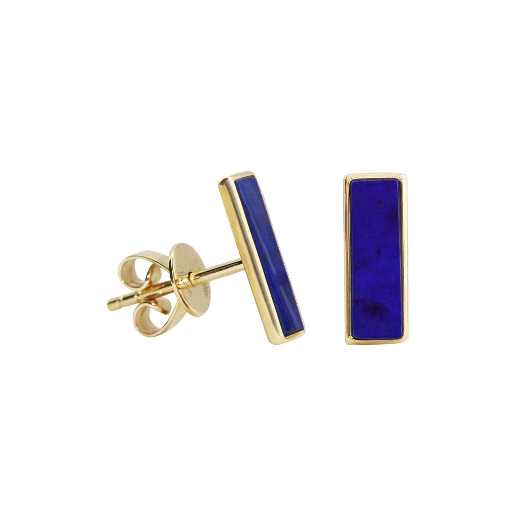 Rectangle Lapiz Lazuli Stud Earrings in 14K Yellow Gold