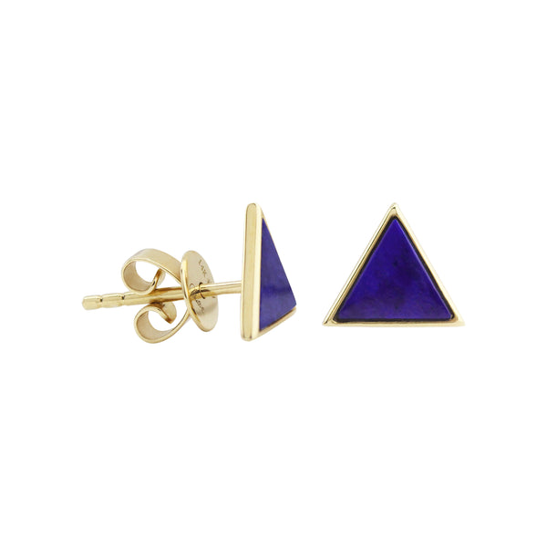 Triangle Lapiz Lazuli Stud Earrings in 14K Yellow Gold