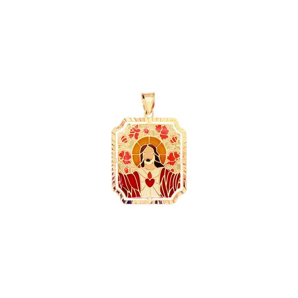 18K Saudi Gold Sacred Heart of Jesus in Enamel Pendant