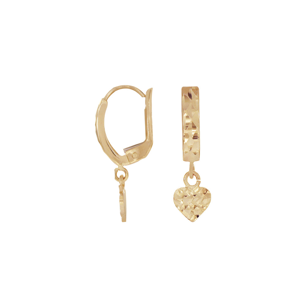 18K Saudi Gold Heart Diamond Cut Dangling Earrings