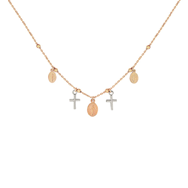 18K Italian Gold Cross and Miraculous Mary Charm Necklace