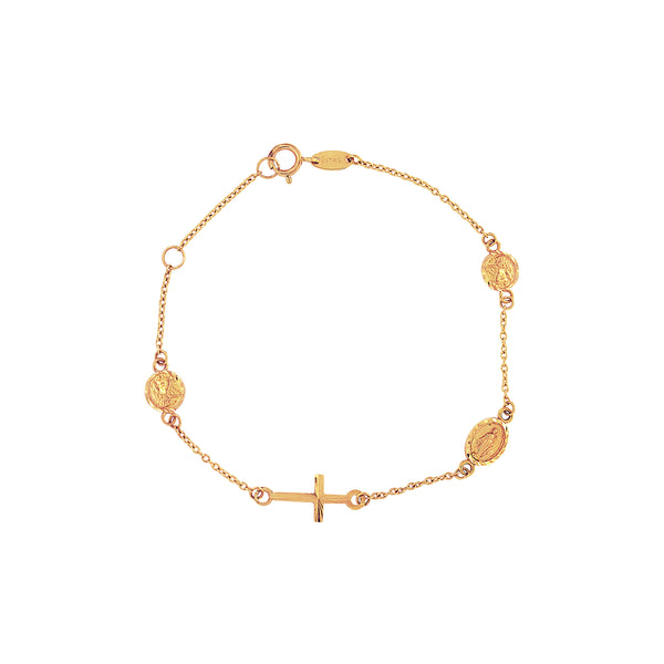 14K Italian Gold Religious Bracelet in Cross, Angel and Miraculous Mary