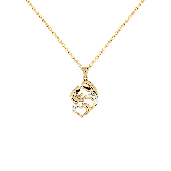 18K Saudi Gold Mother & Child Love Necklace