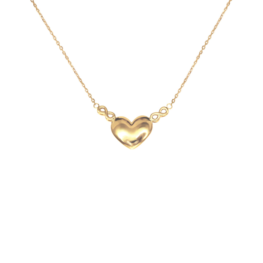 18K Saudi Gold Heart Charm Necklace