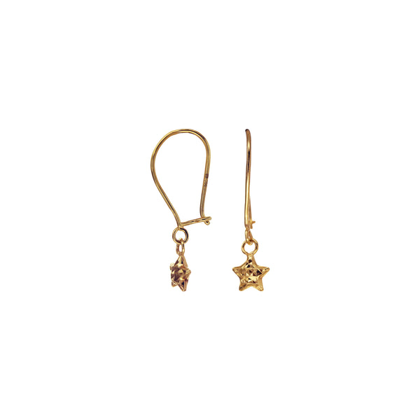 18K Saudi Gold Star Diamond-cut Dangling Earrings