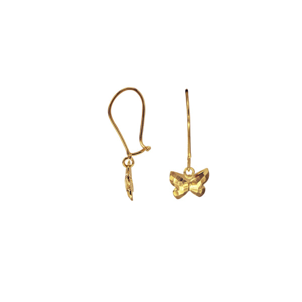 18K Saudi Gold Butterfly Diamond-cut Dangling Earrings