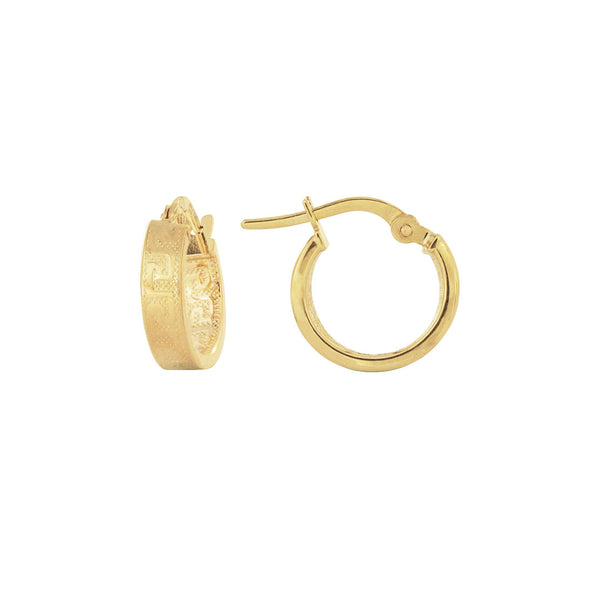 18K Saudi Gold 10MM Hoop Earrings with Design