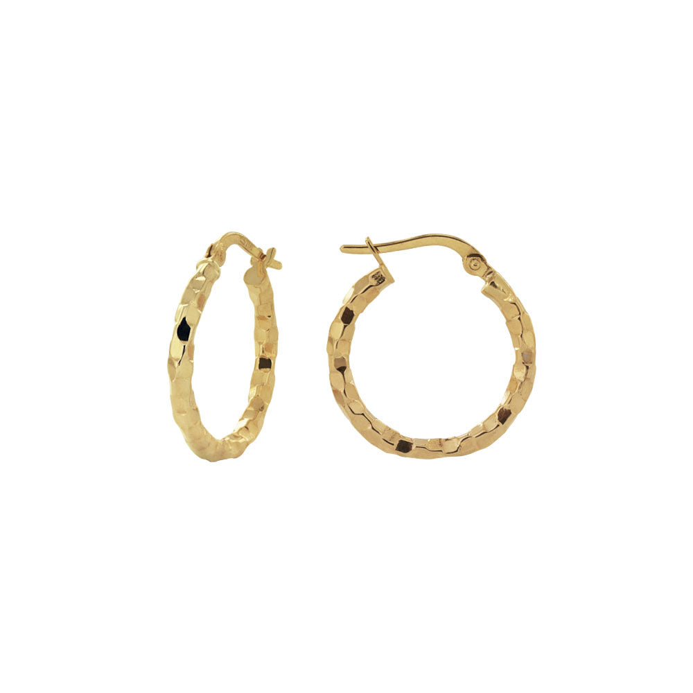 18K Saudi Gold 15MM Dia Cut Hoop Earrings