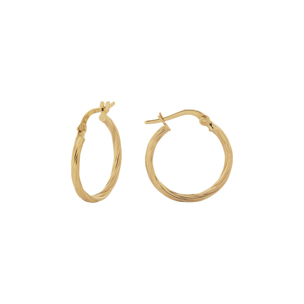 18K Saudi Gold 15MM Twisted Hoop Earrings
