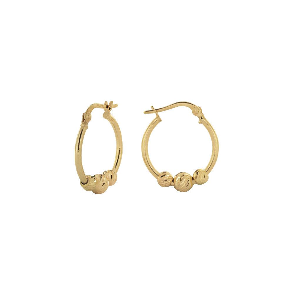 18K Saudi Gold 10MM Hoop Earrings with Balls Dia Cut