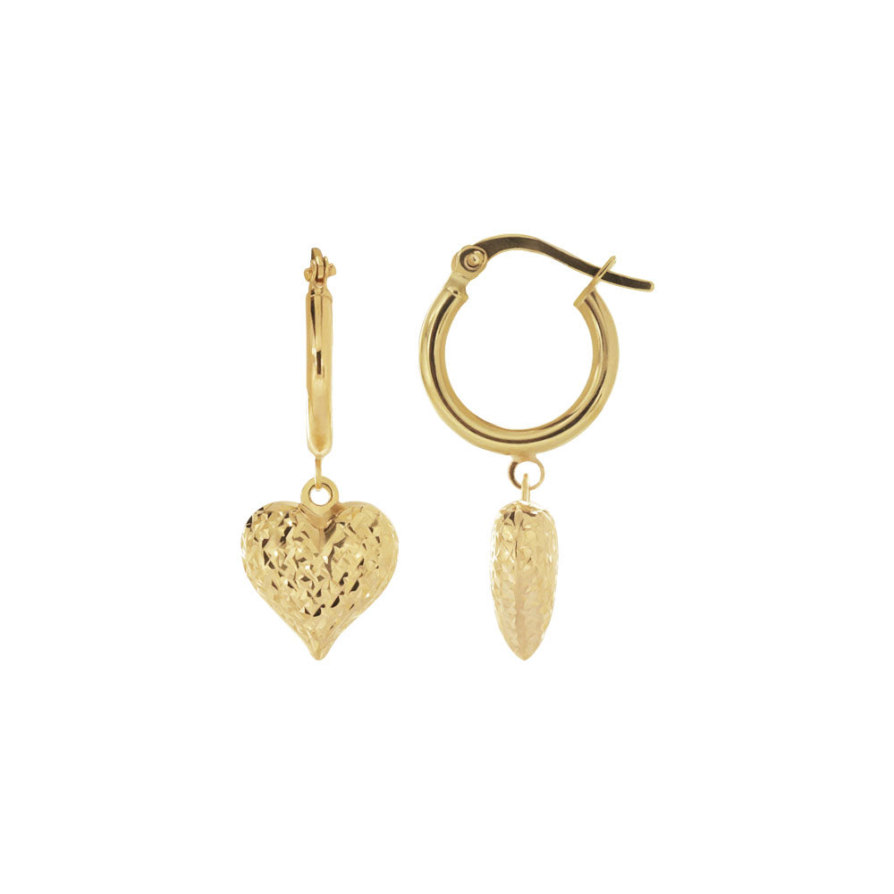18K Saudi Gold 10MM Hoop Earrings with Heart Dia Cut