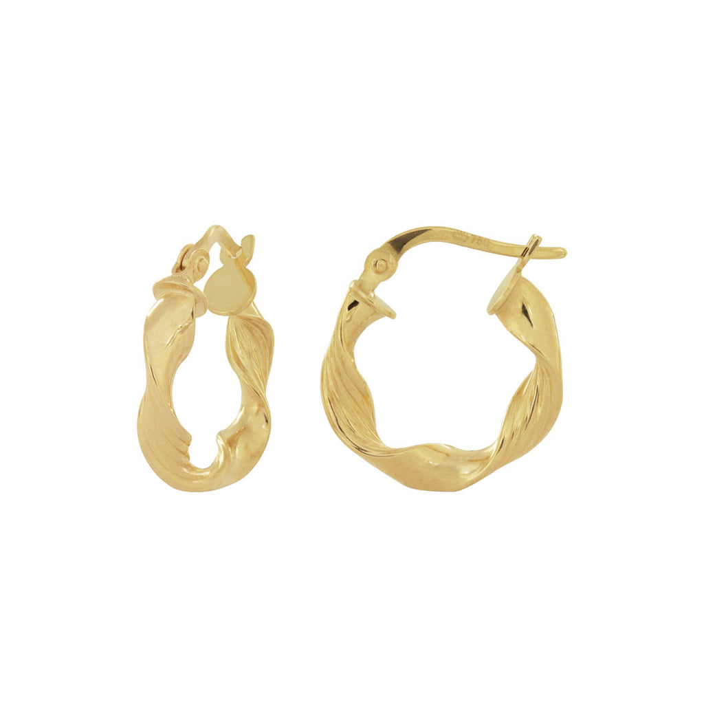 18K Saudi Gold 10MM-15MM Twisted Hoop Earrings