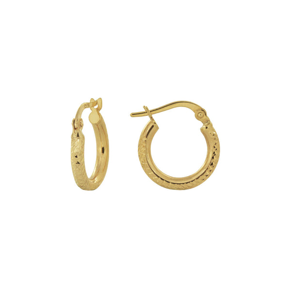18K Saudi Gold 10MM Dia Cut Hoop Earrings