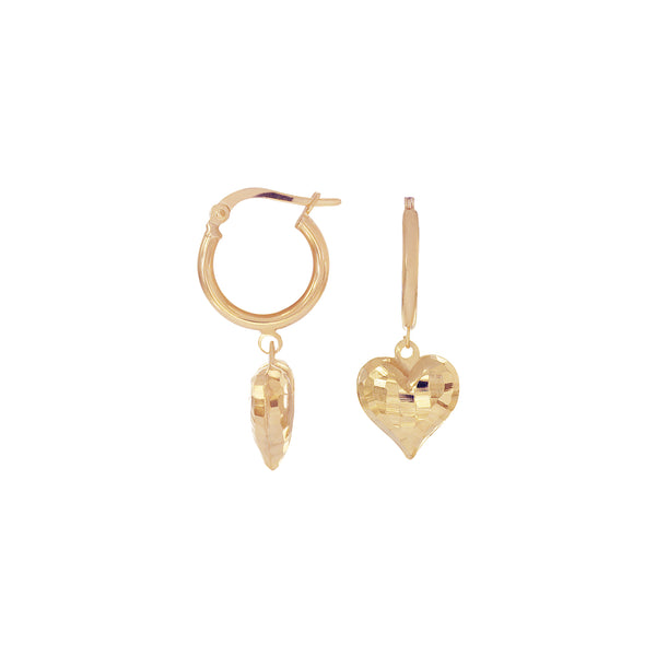 18K Saudi Gold Heart Dangling Earrings