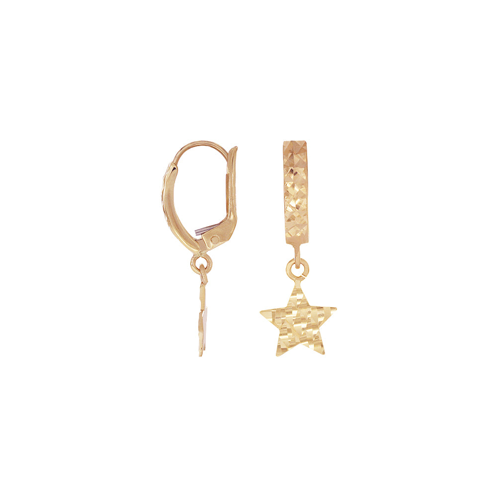 18K Saudi Gold Star Diamond Cut Dangling Earrings