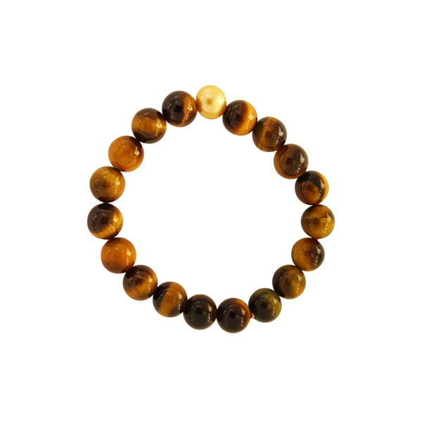 Tiger Eye Bead Bracelet with Golden South Sea Pearl
