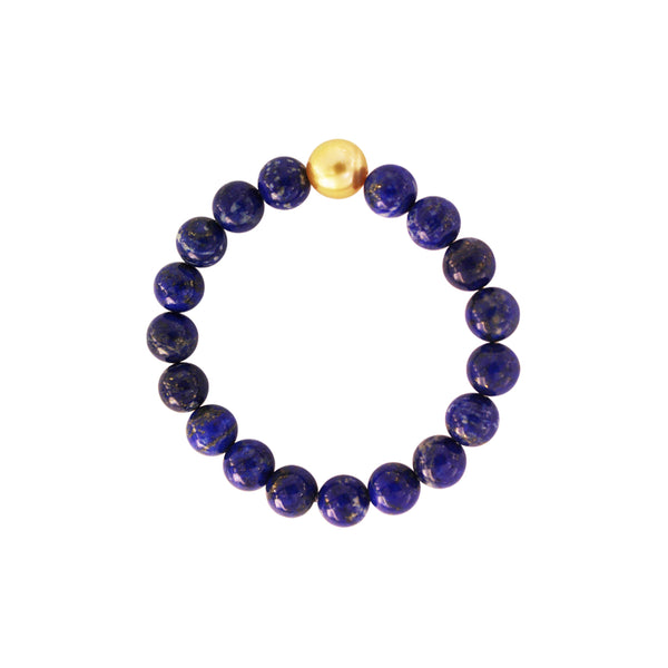 Lapis Lazuli Bead Bracelet with Golden South Sea Pearl